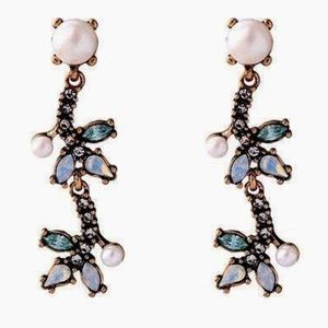 J Crew Gold and Green Crystal Earrings